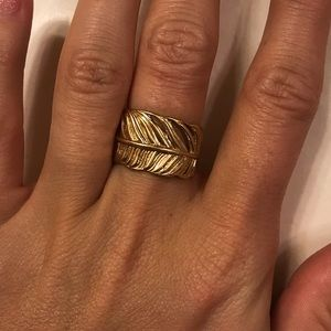 Coach gold feather ring